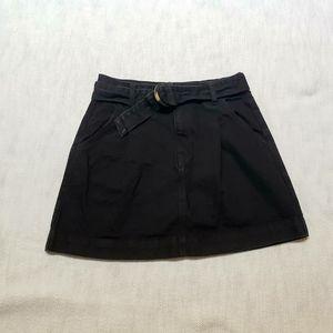 Free People Black Denim Belted Mini Skirt